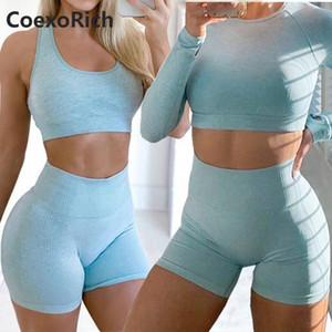 Frauen Yoga Set 2 Stück Vital Seamless-Sport-Klage der Gymnastikkleidung Fitness Crop Top-Hemd mit hohen Taille Shorts Ärmel Langarm