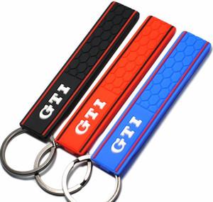 Cool Silicone GTI Logo Emblem Badge Car Keychain Key Ring for VW Golf MK2 MK3 MK4 MK5 MK6 MK7 Polo Car Styling Auto