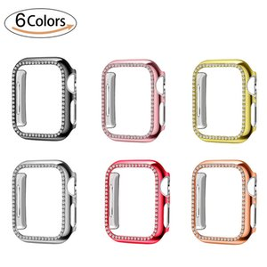 Diamond Watch Cover PC pour Apple Montre de luxe Bling Crystal Hard Case pour iWatch Série 5 4 3 2 1 42mm 38mm Band