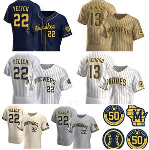 2020 camicia di nuovo di marca 22 Christian Yelich Jersey 13 Manny Machado pullover di baseball Cream Navy alternativo Grigio Bianco Marrone casa cucita Uomo