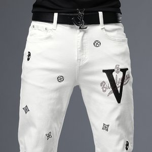 Unique Mens Embroidery Ripped Skinny Jeans Fashion Designer Slim Fit Washed Motocycle Denim Pants Panelled Hip Hop Biker Trousers