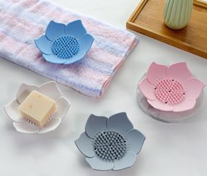 Lotus Şekli Sabunluklar Taşınabilir Silikon Sabun Kutusu Depolama Plakalı boşaltılması Sabunluk Banyo Duş Aracı SN154