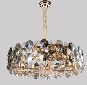 New Modern Lustre Lampes suspendues éclairage pour le salon gris fumée lampes en cristal Chaînes rondes Lustres Décoration Lumière MYY