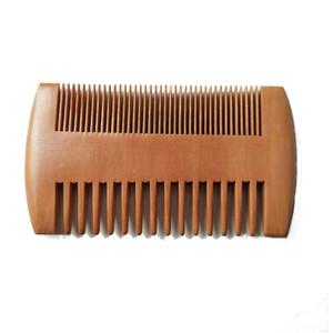 Insignia de encargo fino grueso dientes lados dobles de madera ancha peines de madera del peine del pelo de la barba de los hombres a doble cara Comb