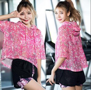 women sexy hollow sport t-shirt floral printed hooded running top gym fitness clothes