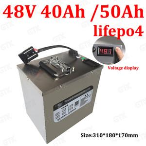 impermeável 48V 50Ah Lifepo4 48v 40AH bateria BMS para 2000w Scooter moto triciclo barco backup de energia + carregador 5A