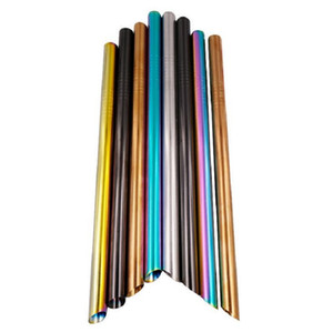 304 Stainless Steel Drinking Straws with Tip End 215x12mm Extra Wide Straight Reusable Bubble Tea Drinking Straws 5 Colors