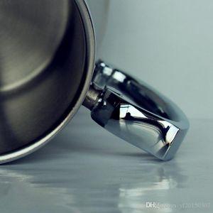 16 oz à double paroi en acier inoxydable Tasse de bière Tasse de bière en verre de vin Gobelets avec poignées en métal