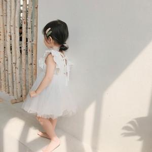 2019 Sommer neue Ankunfts-koreanische Version Baumwolle reine Farbe Allgleiches Prinzessin Spitzeweste Blase Kleid für nette süße Babys Y200226