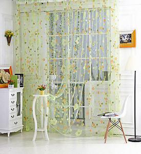 Nuovo stampata floreale Tulle voile tenda di finestra della decorazione della casa di usura Rod Drape Pannello sciarpa pura Mantovane verde sveglio all'ingrosso