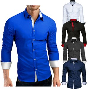 Мужские платья рубашки высокого качества с длинным рукавом повседневные цвета
