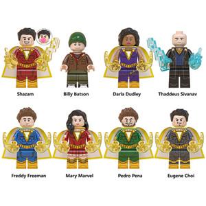 Shazam familia Billy Batson Darla Dudley Pedro Peña Eugene Choi Mary Marvel Freddy bloques de construcción pequeñas figuras juguetes regalos