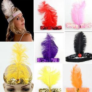 Artificielle coiffe de plumes d'autruche Noël danse habiller spectacle cosplay plume prop sequin XD22861 bijoux serre-tête