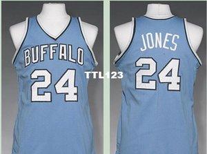 Vintage Buffalo # 24 Wil Jones 1977-78 Straße RETRO Startseite Metallgewebe Voll Stickerei Größe S-4XL oder benutzerdefinierten Namen oder Nummer College-Trikot
