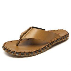 Summer men's Handmade genuine leather woven belt sandals men bling flip flops slides beach slippers