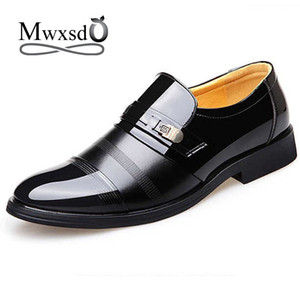 Mwxsd  2019 men formal leather shoes mens Dress office shoes male business Pointed Toe wedding Patent Leather Oxford