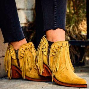 Vogue agradável New Mulheres Fringe Ocidental Sapatinho Feminino Suede Low Heel Rodada Toe Tassel Botas Mulheres Botas Zipper Shoes