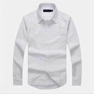 Oxfords Casual Men Shirt camisa Famoso Tendência camisetas Top Quality Bordados Qualidade Negócios T-shirts manga comprida