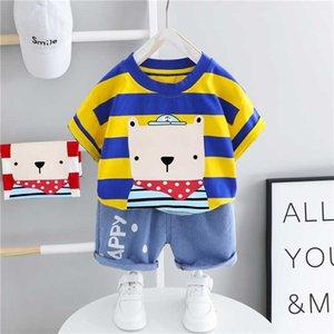 HYLKIDHUOSE Baby Boys Girls Clothing Sets Summer Toddler Infant Short Sleeve Stripe Bear T Shirt Shorts Children Kids Clothing
