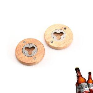 Wooden forma redonda cerveja abridor de garrafas Coaster decoração Home 7.1 * 1,2 centímetros de aço inoxidável cerveja abridor de garrafas ZZA1854