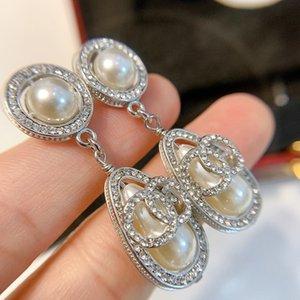 C2180 S925 prata pin queda de pérolas de cristal de casamento elegantes mulheres brincos nova moda finais alta