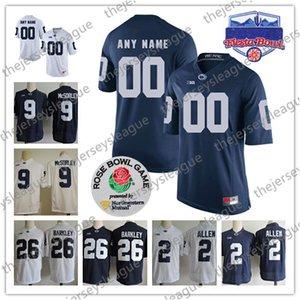 Penn State Nittany Lions maillots de football universitaire personnalisés de la NCAA N'importe quel nom N'importe quel nombre White Navy Personnalisé # 26 Saquon Barkley # 2 # 9 # 88 S-3XL