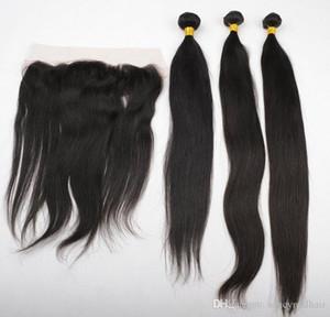 الرباط المقدمات مع الشعر البرازيلي 3 حزم مستقيم موجة الشعر البشري نسج غير المجهزة الهندي الماليزية بيرو الشعر