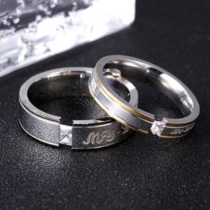 Cz casal anel amantes de titânio Anel Brilhante de cristal broca de aço titânio casal anéis de casamento