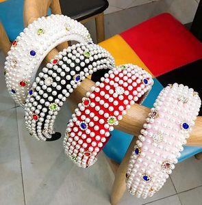 2020 Luxury Thick Sponge Hairband Crystal Headbands Hair Bands For Women Pearl Hair Hoop Girl Elastic Headband Sports Hair Band Head Wrap