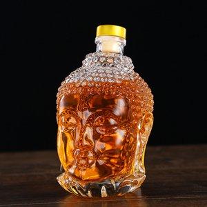 Botella de 750 ml de vidrio estatua de Buda de cristal botella de agua de la taza del vino de cristal para el vodka beber whisky Vidrios de la boda Vasos De Vidrio Bastidor de regalo