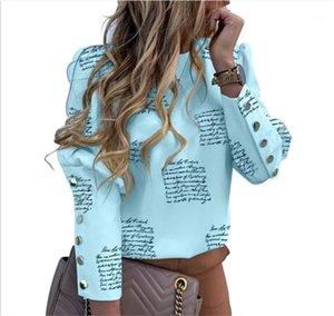 Pulsante collo maglietta stampata lettera di primavera manica lunga regolare Tees progettista delle donne Pullover Abbigliamento Cacual Crew