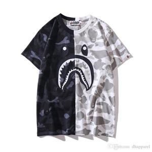 Lover Black White Camo Cuciture girocollo T-shirt casual Hip Hop Sport Uomo manica corta T-shirt di trasporto