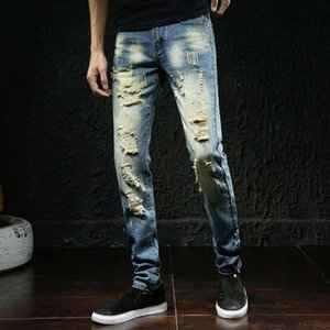 2020 summer new straight solid color designer motorcycle jeans hole in Europe and America fashion slim men's jeans