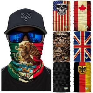 66 Стили Мексика Национальный флаг Бесшовный череп 3D Magic Headscarf Riding Headgear Mask Wollege Senscreen Рыбалка Камуфляжная маска ZZA891 100 шт.