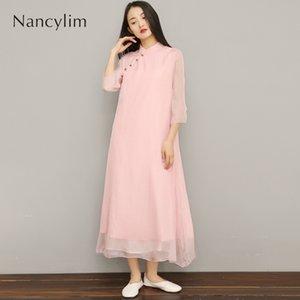 Coton et lin robe femmes été rétro style chinois lâche longue robe tempérament dame robes robes mère vêtements Nancylim