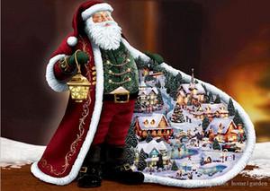 Noël bricolage Needlework 5D diamant peinture Kits de broderie point de croix Kits muraux Kits mosaïque autocollants 30X40 30 * 30cm Home Decor
