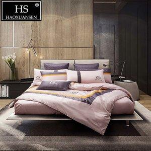 Estilo de la moda de visita rosada del lecho 4pcs Establece seda de imitación funda nórdica de algodón hoja de cama Set 200 Hilos reina extragrande
