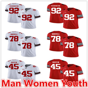 customize NCAA Staat Ohio-Rosskastanien-Fußball Jerseys Adolphus Washington 92 Andrew Norwell 78 Archie Griffin 45 Jersey irgendein Name Nummer S-5XL