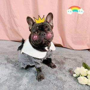 Simple Checkered Pattern Pet Dress Teddy Bulldog Plaid Dog Tshirts Fashion Thin Cartoon Princess Dress Hot Selling