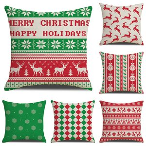 25 Styles 45*45cm Christmas Pillowcase Deer Snowflake Printed Pillows Case Car Flax Pillow Cover Decorations For Home M525
