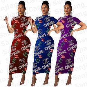 Women Long Dress Bodycon Dresses Slim Dresses Brand Letters Short Sleeve T Shirt Dress Fashion Tight Long Tee Skirt Party Clothing E31205