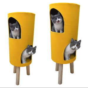 Plush house Cat cage pet nest double layer nest room cat house cotton nest solid wood cats climbing bed sisal barrel round stool