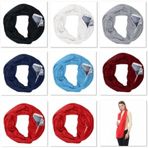 Hot Pocket Scarves For Women Girls Double Layer Infinity Scarf Wrap Hidden Zipper Pocket Travel Scarfs Storage Bib Christmas Gift HH7-1890
