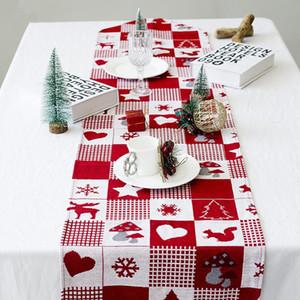 Christmas Table Runner Tapiz Cena Decoración de tela de mesa Decoración navideña para el hogar Suministros de fiesta de cena de año nuevo