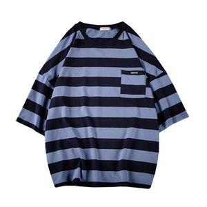 Harajuku banda maglietta estate 2020 uomo T shirt da uomo oversize giallo magliette Hip Hop Casual Pocket Tshirt