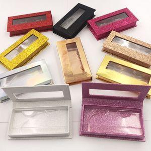 False Eyelashes Packaging Box Lash Boxes Custom Your Logo Fake 3d Mink Lashes Glitter Case Empty Makeup Eyelash Storage