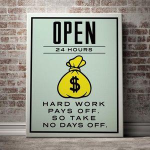 Monopoly Alec « Ouvert 24 heures » Home Décor peint à la main HD Imprimer Peinture à l'huile sur toile Wall Art Toile Peinture culture art bureau 200516