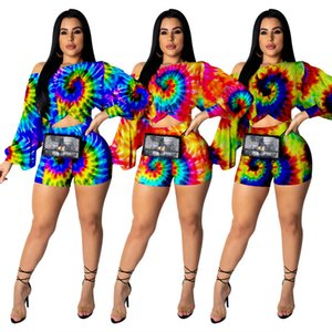 Tie-dye Women's Set Top+pant Long Puff Sleeve Two Piece Set Fashion Sexy Party Club Suits Summer Autumn Ladies Sets