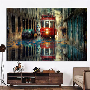 Hot Selling Wall Art Painting Retro City Street Bedroom Background Wall Decoration Home Decor Frameless Canvas Painting Core