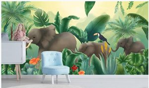 WDBH encargo mural fotográfico del papel pintado 3D Planta tropical animales coqueiro elefante paisagem pared 3d papel tapiz mural para la sala de estar